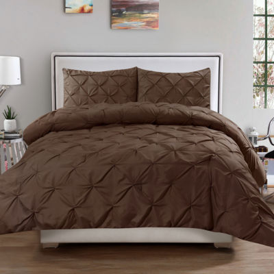 Hudson 3 PC Pinch Pleat Pintuck Solid Polyester Comforter Sham Set
