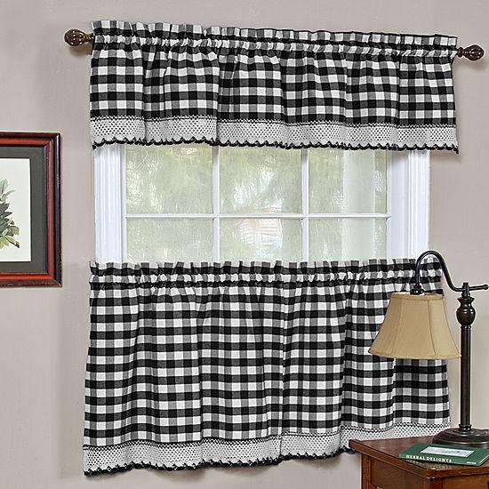 Buffalo Check Gingham Kitchen Window Curtain Set