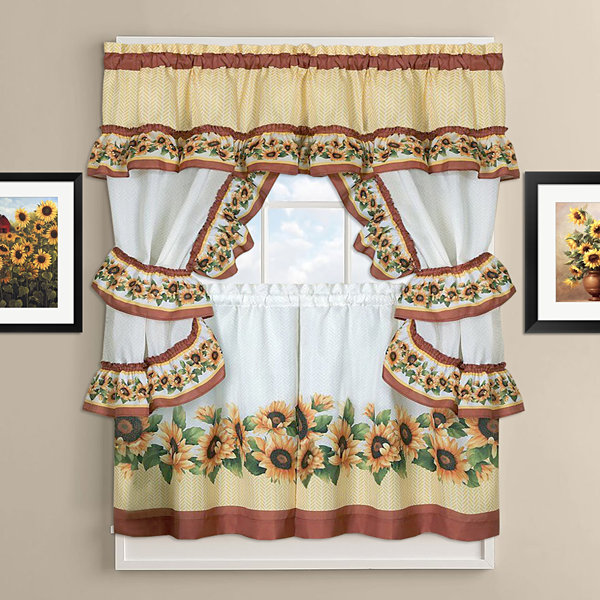 sharp bathroom window coverings | Black Eyed Susan Kitchen Curtain Cottage Set - JCPenney