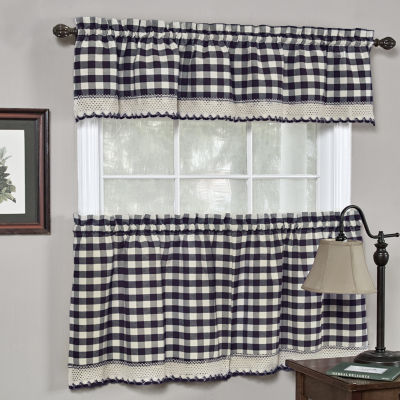 Buffalo Check Gingham Kitchen Curtains Tiers or Valance - Navy