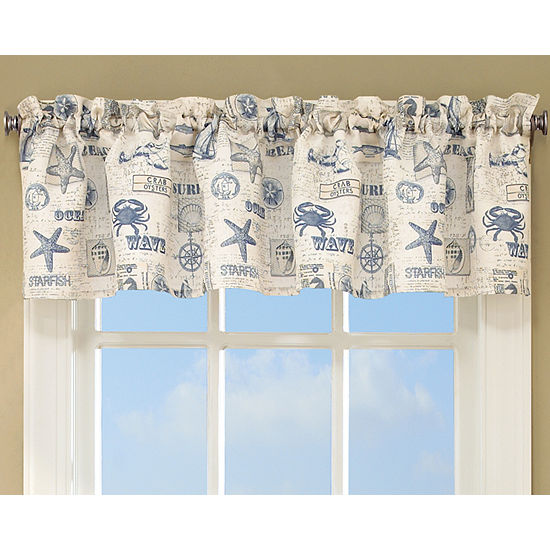 By The Sea Printed Ocean Beach Images Kitchen Curtains