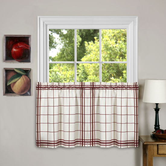 Cambridge Burgundy Plaid Kitchen Curtains