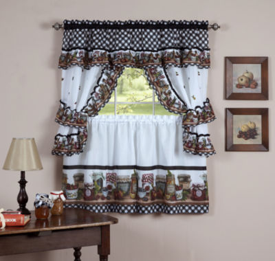 Mason Jar Cottage Kitchen Window Curtain Set