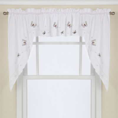 Monarch Embroidered Butterfly White Kitchen Window Treatments