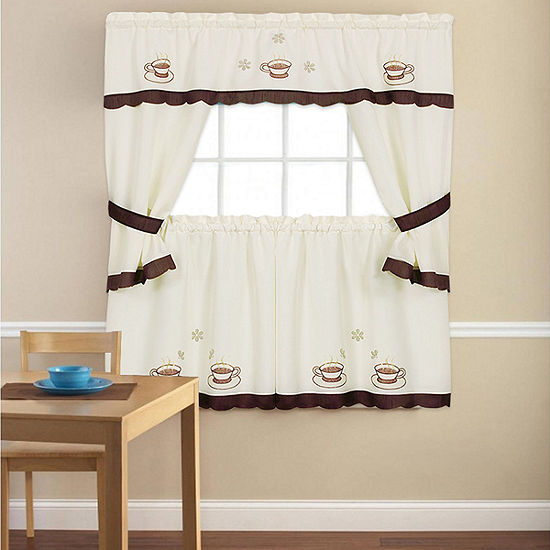Embroidered Cuppa Joe 5 Piece Kitchen Curtain Cottage Set
