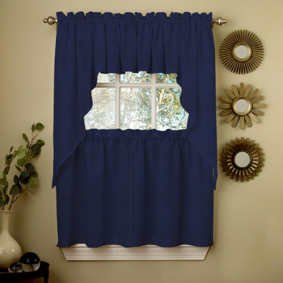 Navy Solid Opaque Ribcord Kitchen Window Treatments