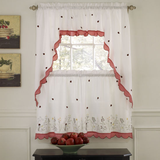 Embroidered Ladybug Meadow Kitchen Window Treatments