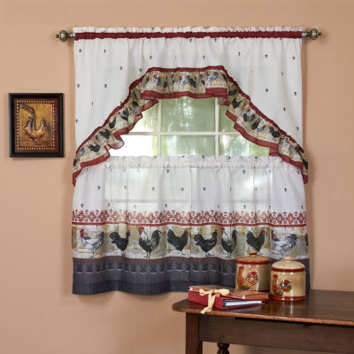 Roosters & Fleur De Lis Kitchen Curtain Set