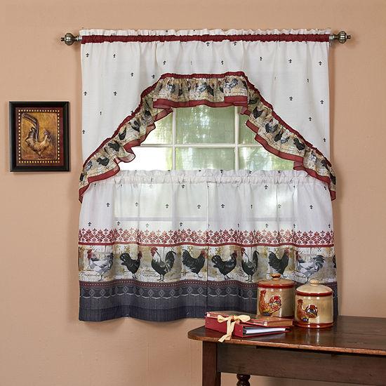 Roosters & Fleur De Lis Kitchen Curtain Set