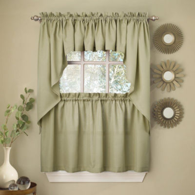 Sage Solid Opaque Ribcord Kitchen Window Treatments