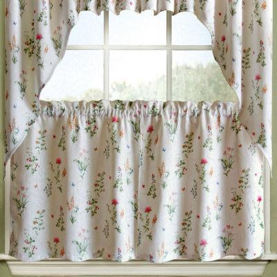 English Garden Floral White Jacquard Kitchen Window Treatments