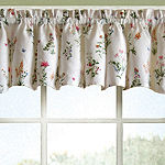 English Garden Floral White Jacquard Kitchen Window Treatments