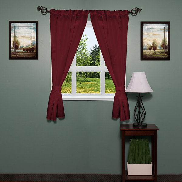 Lauren Diamond Pattern Fabric Bathroom Window Curtain with Tiebacks