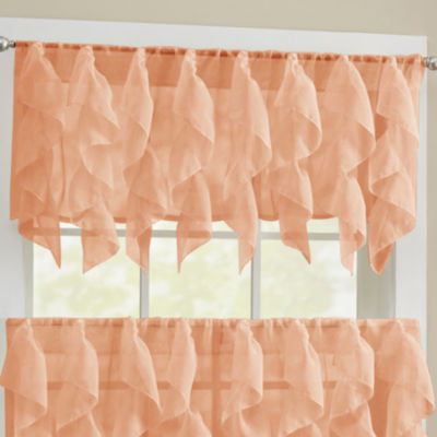 Sheer Voile Vertical Ruffle Kitchen Window Treatments
