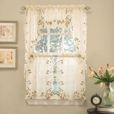 Floral Embroidered Semi- Sheer Linen Kitchen Window Treatments