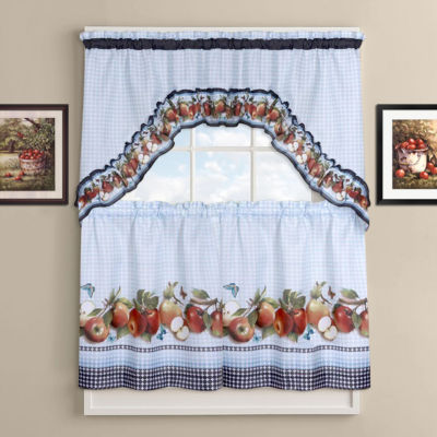 Golden Delicious Tier and Swag Kitchen Curtain Set