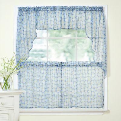 Tiles Block Sheer Kitchen Curtains Set