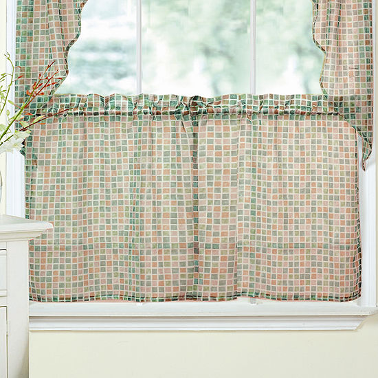 Tiles Block Sheer Voile Kitchen Window Treatments