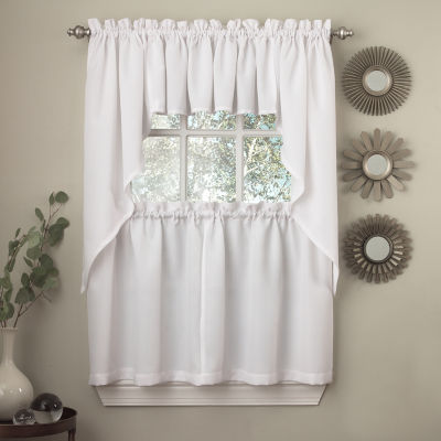 White Solid Opaque Ribcord Kitchen Window Treatments
