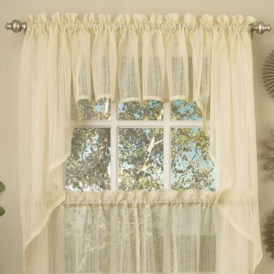 Harmony Micro Stripe Semi Sheer Kitchen Window Treatments