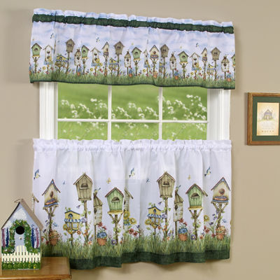 Home Sweet Home Birdhouse Kitchen Curtain Set