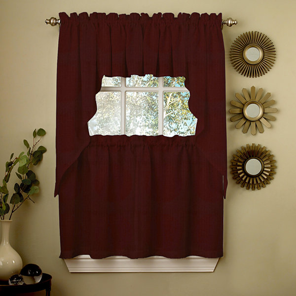 Wine Opaque Solid Ribcord Kitchen Window Treatments