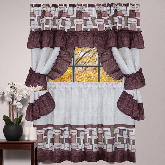 Curtain Cottage Inspire Words 5-Piece Kitchen Window Curtain Set