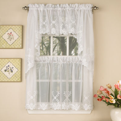 Laurel Leaf Sheer Voile Embroidered Kitchen Window Tiers
