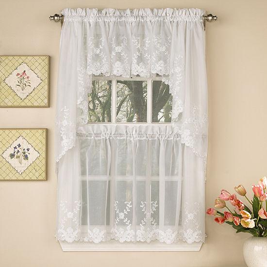 Laurel Leaf Sheer Voile Embroidered Kitchen Window Tiers