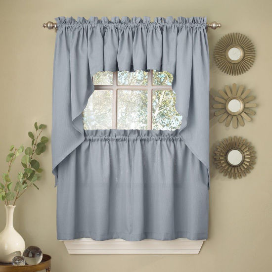 Light Blue Opaque Solid Ribcord Kitchen Window Treatments