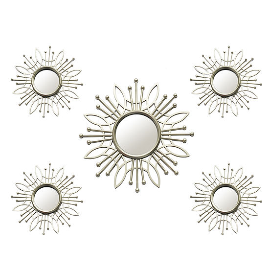Stratton Home 5 Piece Champagne Burst Mirror Set