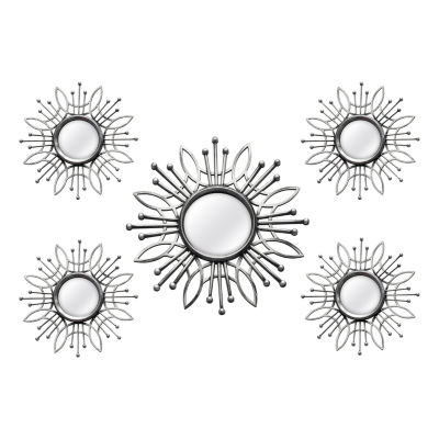 5 Piece Silver Burst Wall Mirror Set