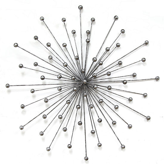 Stratton Home Silver Burst Metal Wall Art