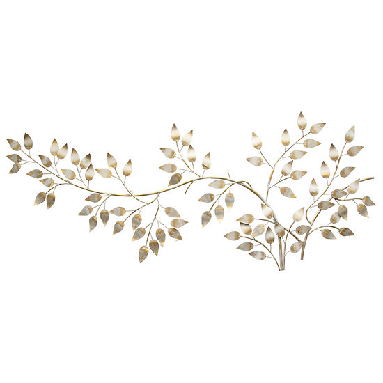 Stratton Home Decor Brushed Gold Flowing Leaves Wall Décor Metal Wall Art