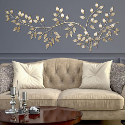 Brushed Gold Flowing Leaves Wall Décor Metal Wall Art