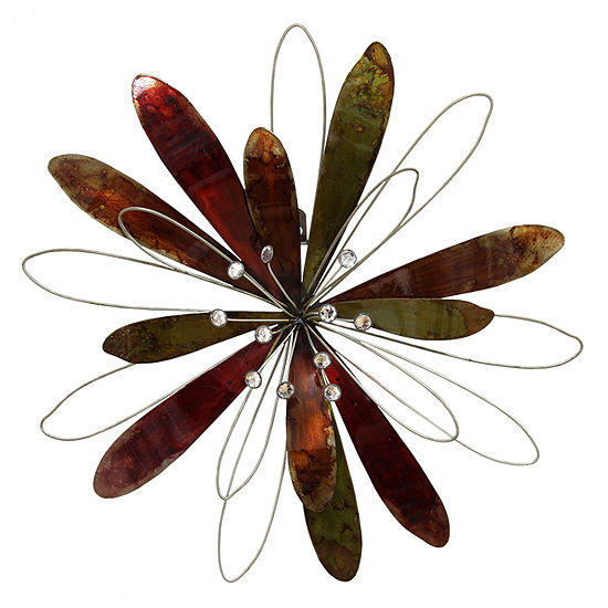 Stratton Home Whimsical Flower Burst Wall Decor Floral Metal Wall Art