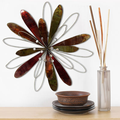 Stratton Home Whimsical Flower Burst Wall Décor Floral Metal Wall Art