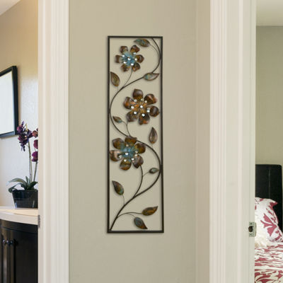 Winding Flowers Wall Décor Floral Metal Wall Art