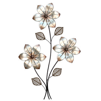 Eclectic 3 Stem Floral Wall Décor Metal Wall Art
