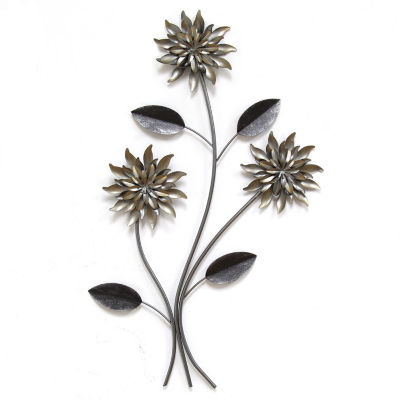 3 Stem Flowers Wall Décor Floral Metal Wall Art