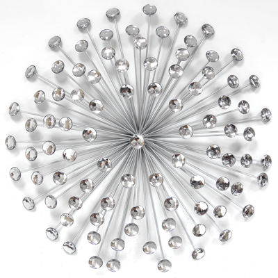 "24"" Silver Acrylic Burst Wall Décor Metal Wall Art"