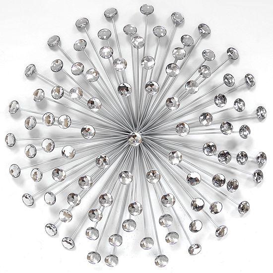 24 Silver Acrylic Burst Wall Décor Metal Art