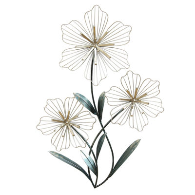 Stratton Home Decor Tri-Flower Metal Wall Art