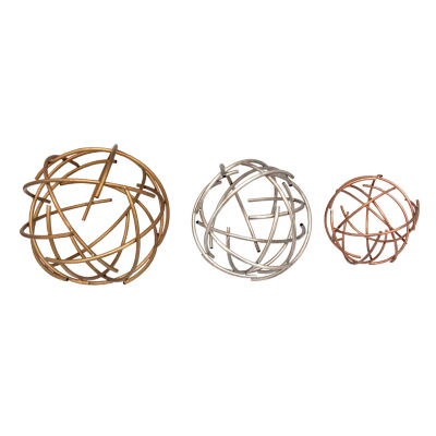 3 Piece Sphere Table Top Décor Metal Wall Art