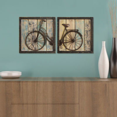 Set Of 2 Rustic Bicylcle Wall Décor Sign