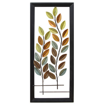 Autumn Blowing Tree Panel Wall Décor Metal Art