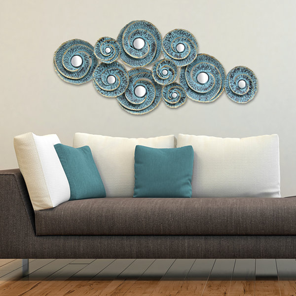 Decorative Waves Metal Wall Décor Beach + Nautical Metal Wall Art