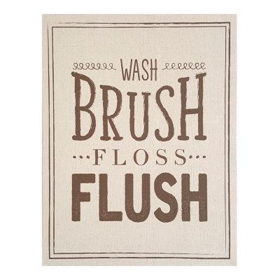 Wash Brush Floss Flush Linen Wall Art Bath + Laundry Tapestry