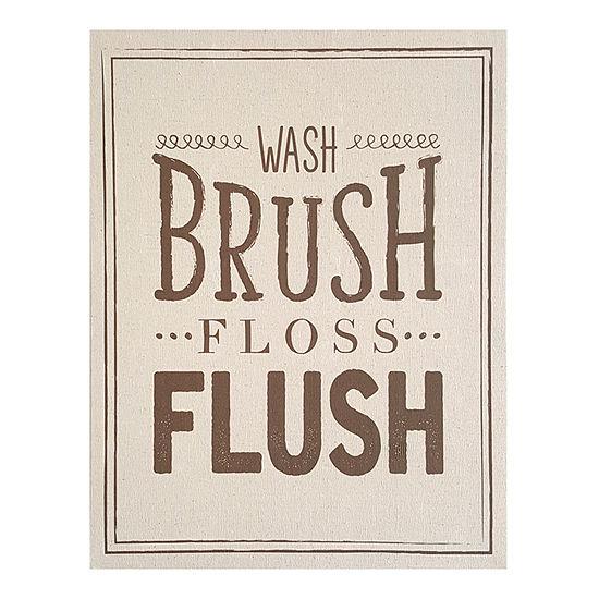 Stratton Home Wash Brush Floss Flush Linen Wall Art Bath + Laundry Tapestry