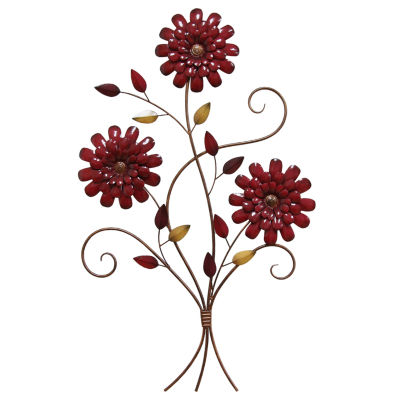 Red Floral Bouqet Wall Décor Metal Wall Art
